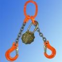 Zawiesie łańcuchowe dwucięgnowe zakończone hakami WLL 5.6t